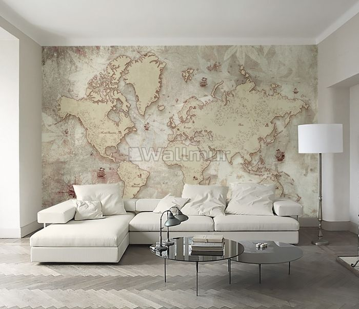 Vintage Old Parchment World Map Wallpaper Mural