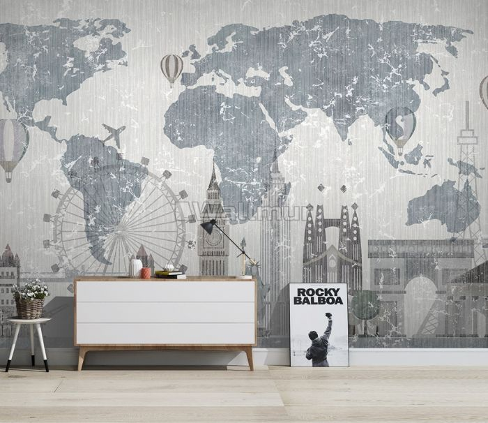 Vintage World Map with Old Hot Air Balloon Wallpaper Mural