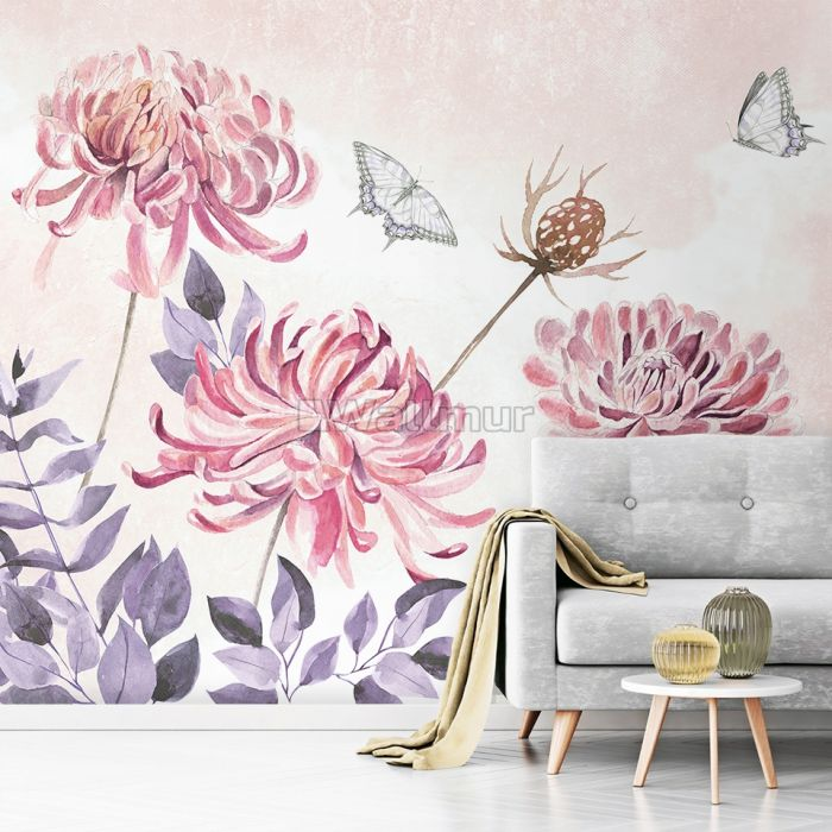 Retro Watercolor Pink Dandelion Flower Art Wallpaper Mural