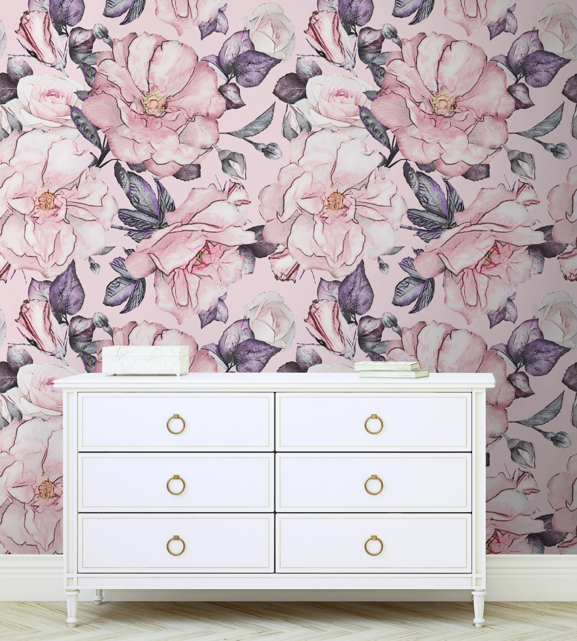 Watercolor Pink Floral Pattern Wallpaper Wallmur